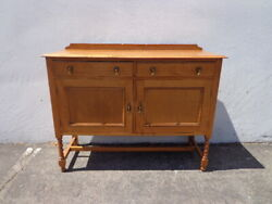 Antique Buffet Cabinet Traditional Shabby Chic Primitive Sideboard Hutch Wood Tv