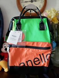 Anello Backpack Small Womens Mens Bag Orange Green Black Leather New $35.00