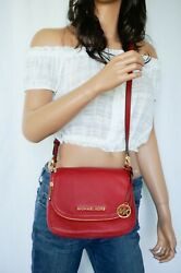 Michael Kors Bedford Small Flap Crossbody Pebbled Leather Bag Red Scarlet $92.88