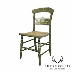 Hitchcock Green Painted George Washington Mount Vernon Cane Seat Side Chair B