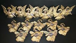 Vintage African American Angel Christmas Ornaments Lot Of 16 Plastic Gold 6 7