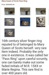 Mary Queen of Scots pass ring circa 1500xx year