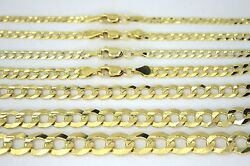 14k Solid Gold Cuban Link Chain Necklace For Men Women 2.5 11.5mm 16 30