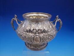 French Silver Footed Bowl With Figural Handles And Applied Ribbons 4219