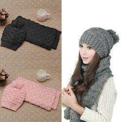 Scarf And Hat Set Womens Warm Knitted Beanie Scarves Knit Skullcaps Winter