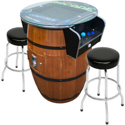 2 Player Barrel Style Pub Table Arcade With 19 Lcd Screen And 2 Stools 412 Games
