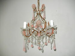 C 1920 French Fogged Pink Murano Drops Crystal Prisms Flowers Chandelier