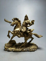 8.8 Chinese Antiques Old Copper Horse Riding With Knife Guan Yu Buddha Statue