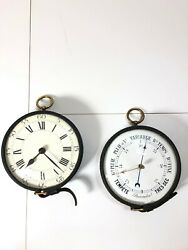 French Jacques Adnet Paris Leather Brass Wall Clock/barometer Hermes Mid Century