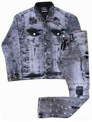 Menand039s Distressed 2 Piece Repulsive Activewear Jean Suits W/ Matching Pants