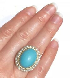 Big Blue Turquoise Baby Pearls / Pearl Seeds Halo 14k Ring
