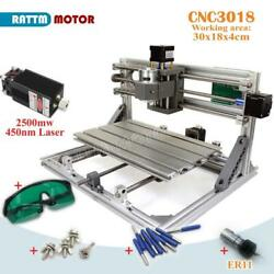 Grbl 3-axis 3018 Diy Cnc Milling Machine Wood Router+2.5w Laser+er11 Collet