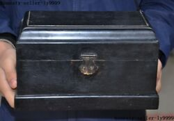 Antique Old Chinese Rosewood Wood Dynasty Jewelry Vessel Box Storage Box Boxes