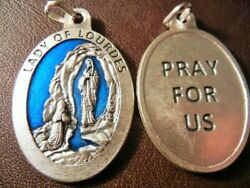 Our Lady Of Lourdes Blue Enamel Large Oval Medal 1 1/2 Tall New Free Shipping+
