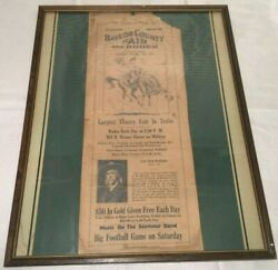 1927 Baylor County Texas 8th Annual Rodeo Fair Frame Advertisement Indian Cowboy