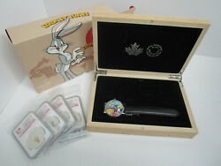 2015 20 Looney Tunes - 1oz Pure Silver 4-coin Set With Watch - Proof Pf 70