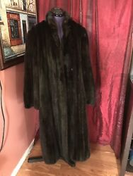 Norell MINK Long Fur Coat Dark Brown Women's Size M 810