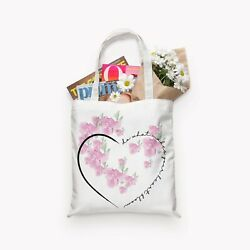 White canvas book tote bridesmaidgiftShopperbag With Pink FloralHeart