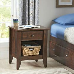 Dark Cherry Finish Nightstand Bedside Table With Drawer End Side Shelf Bedroom