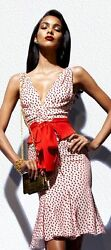 ICONIC TOM FORD RUNWAY WHITE SILK COCKTAIL DRESS RED POLKA DOTS w belt s.EUR42