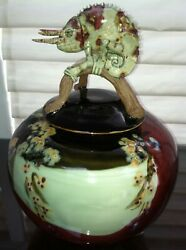 Wax And Bing Vintage Pottery Xl Stoneware Jar Topped With Three Horned Lizard