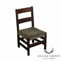 Antique Mission Arts And Crafts Oak Small Youth Size Chair Possibly Stickley