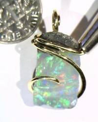 13.65ct African Crystal Opal In 14kt Gold Art Wire Wrap Pendant