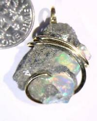 16.40ct African Crystal Opal In 14kt Gold Art Wire Wrap Pendant