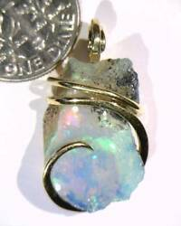 12.37ct African Crystal Opal In 14kt Gold Art Wire Wrap Pendant