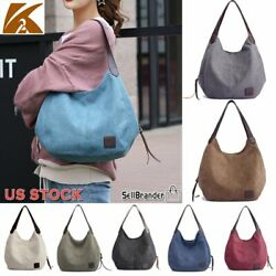 K2 Women's Vintage Brand Designer Cotton Canvas Shoulder Handbag Purse Hobo Bag