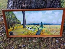 Unique One Of Kind Art Painting English Pointer Fox Chase Hunt Hunting Dog ❤️j8