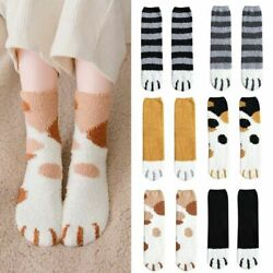 US Women Winter Fluffy Fuzzy Warm Slipper Socks Cute Meow Cat Paws Print Hosiery