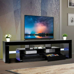 Tv Stand 65 Modern Entertainment Centre Colorful Led Light Storage High Gloss