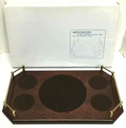 Rare Wedgwood Wood And Brass Rectangular Serving Gallery Tray -17 L- New In Box