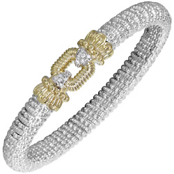 Vahan Sterling Silver And 14k Gold - 0.09cts Of Diamonds - 8mm Width