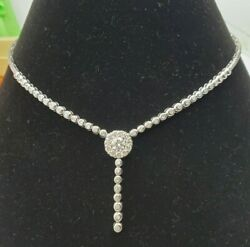 1.00 Cttw F/si Natural Diamonds Necklace 14k White Solid Gold 16 Inches