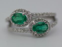 14k White Gold Oval Green Emerald With Round White Diamond Bypass Ring Size 6.5