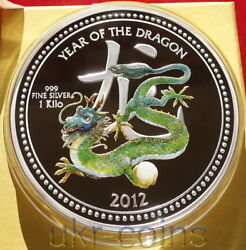 2012 Niue 30 Lunar 龍 Year Of The Dragon 1kilo Silver Colored Proof Coin Nz Mint