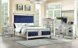 4pc Bedroom Furniture Set Blue Velvet & Mirrored Finish Queen Size Panel Bed