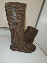 Classic Cardy S/n 1876 Metallic Knit Ugg Boots - Brown Sz 5