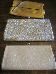 VTG LOT OF 3 Clutch Evening Cocktail Purses Gold Lamé Silver Glitter WH GLITTER $9.99