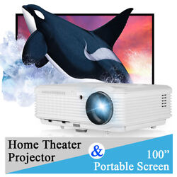 Caiwei 6000lms Led Home Theater Projector Movie Hd 1080p Night Hdmi+100and039and039 Screen
