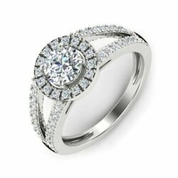 1 CT Round Cut Real Solitaire Cluster Diamond 14k White Gold Anniversary Ring