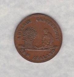 New Zealand Edward Rose Copper Half Penny Token In Good Very Fine Condition