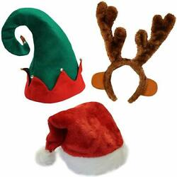 Funny Party Hats Set of 3 Christmas Hats-Santa Hat Elf Hat Coil Santa Hat (Sty
