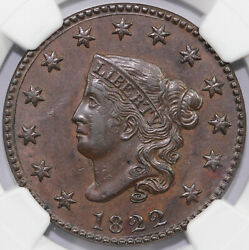 1822 1c Coronet Or Matron Head Large Cent Ngc And Cac Au 58 Bn