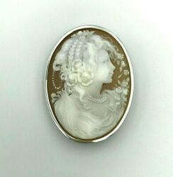 Brooch Pendant Jewelry Vintage Pin Christmas Silver925 cameo Signed