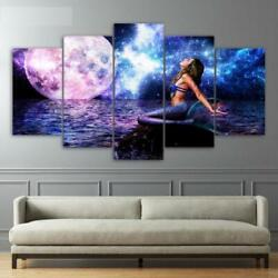 Mermaid Moon And Space Ocean Night Framed 5 Piece Canvas Wall Art Painting Wallpap
