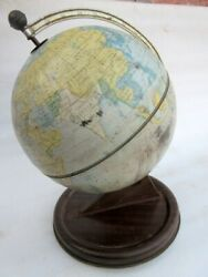 Vintage Old Chad Valley Tin Litho Printed Color World Map Earth Globe England