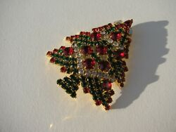 RARE VTG. TRINITY TREE ENCRUSTED RED GREEN CLEAR BAGUETTES CANDLES CHRISTMAS PIN